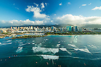 Kewalo Basin Harbor and Ala Moana Beach Park, Honolulu, O'ahu.
