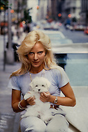 June 1979. Manhattan, NY. Portrait of Sylvie Vartan with her dog, during the promotion of her new record.