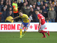 Leeds United's Luke Ayling battles with  Nottingham Forest's Ryan Yates<br /> <br /> Photographer Mick Walker/CameraSport<br /> <br /> The EFL Sky Bet Championship - Nottingham Forest v Leeds United - Tuesday 1st January 2019 - The City Ground - Nottingham<br /> <br /> World Copyright &copy; 2019 CameraSport. All rights reserved. 43 Linden Ave. Countesthorpe. Leicester. England. LE8 5PG - Tel: +44 (0) 116 277 4147 - admin@camerasport.com - www.camerasport.com
