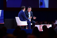 National Harbor, MD - February 22, 2018: U.S. Senator Ted Cruz participates in a discussion, moderated by Ben Domenech, during the Conservative Political Action Conference (CPAC) at the Gaylord National Hotel in National Harbor, MD, February 22, 2018  (Photo by Don Baxter/Media Images International)