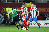 BUKARESZT 09.05.2012.MECZ FINAL LIGA EUROPY SEZON 2011/12: ATLETICO MADRYT - ATHLETIC BILBAO --- UEFA EUROPA LEAGUE FINAL 2012 IN BUCHAREST: CLUB ATLETICO DE MADRID - ATHLETIC CLUB DE BILBAO.ANDER HERRERA  MARIO SUAREZ  GABI.FOT. PIOTR KUCZA.---.Newspix.pl