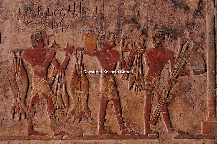 Zahi Hawass Secret Egypt Travel Guide; Egypt; archaeology; El Kab, tomb of noble, tomb of Paheri, wife Henut-er-neheh, fish offering, agriculture, New Kingdom, Thutmosis III