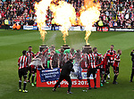 Sheffield United's players celebrate with the League One trophy during the English League One match at Bramall Lane Stadium, Sheffield. Picture date: April 30th, 2017. Pic credit should read: Jamie Tyerman/Sportimage