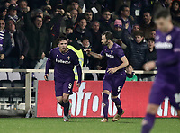Calcio, Serie A: Fiorentina - Inter, stadio Artemio Franchi Firenze 5 gennaio 2018.<br /> Fiorentina's Giovanni Simeone (l) celebrates after scoring with his teammate Milan Badelj (r) during the Italian Serie A football match between Fiorentina and Inter Milan at Florence's Artemio Franchi stadium, January 5 2018.<br /> UPDATE IMAGES PRESS/Isabella Bonotto