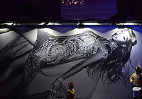 August 12, 2012..A giant mural of British model Naomi Campbell on display during closing ceremony at the Olympic Stadium on the last day of 2012 Olympic Games in London, United Kingdom.