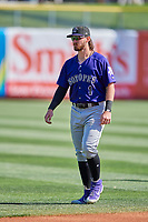 Brendan Rodgers (1) of the Albuquerque Isotopes before the game against the Salt Lake Bees at Smith's Ballpark on April 27, 2019 in Salt Lake City, Utah. The Isotopes defeated the Bees 10-7. This was a makeup game from April 26, 2019 that was cancelled due to rain. (Stephen Smith/Four Seam Images)