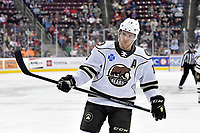 HERSHEY, PA - DECEMBER 01: Hershey Bears right wing Riley Barber (19) waits for a face-off during the Springfield Thunderbirds at Hershey Bears on December 1, 2018 at the Giant Center in Hershey, PA. (Photo by Randy Litzinger/Icon Sportswire)