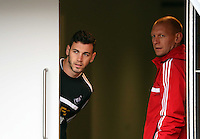 Wednesday, 23 April 2014<br /> Pictured: Alvaro Vazquez and goalkeeping coach Adrian Tucker. <br /> Re: Swansea City FC are holding an open training session for their supporters at the Liberty Stadium, south Wales,