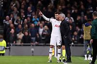 Tottenham Hotspur manager Jose Mourinho and Dele Alli of Tottenham Hotspur  discuss tactics during Tottenham Hotspur vs Olympiacos FC, UEFA Champions League Football at Tottenham Hotspur Stadium on 26th November 2019