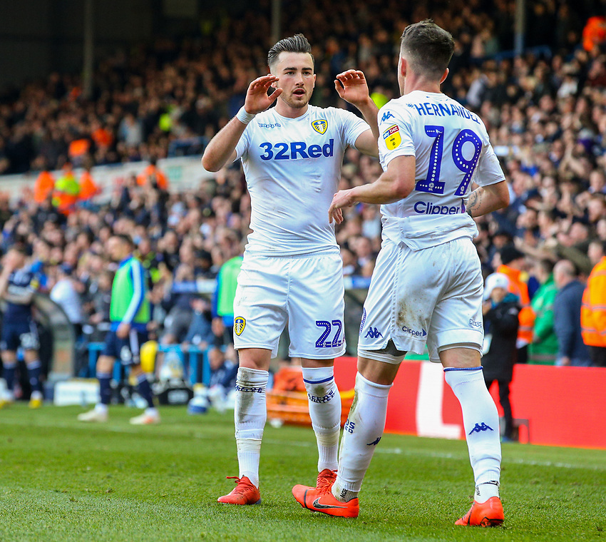 Leeds United's Pablo Hernandez celebrates scoring the winning goal - his side's third with Jack Harrison<br /> <br /> Photographer Alex Dodd/CameraSport<br /> <br /> The EFL Sky Bet Championship - Leeds United v Millwall - Saturday 30th March 2019 - Elland Road - Leeds<br /> <br /> World Copyright © 2019 CameraSport. All rights reserved. 43 Linden Ave. Countesthorpe. Leicester. England. LE8 5PG - Tel: +44 (0) 116 277 4147 - admin@camerasport.com - www.camerasport.com