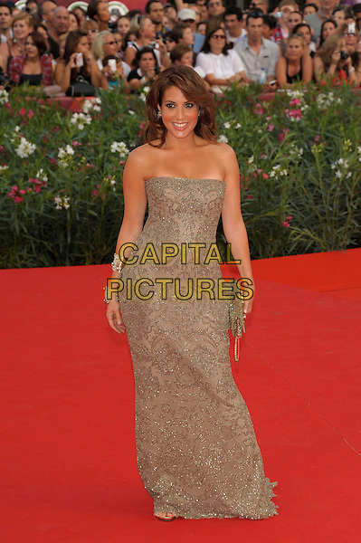 Arianna Bergamaschi .'The Ides of March' screening.68th Venice International Film Festival, Italy 31st August 2011.full length brown beige strapless embroidered dress gold.CAP/PL.©Phil Loftus/Capital Pictures.