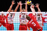 13.09.2019, Paleis 12, BrŸssel / Bruessel<br />Volleyball, Europameisterschaft, Belgien (BEL) vs. …sterreich / Oesterreich (AUT)<br /><br />Block  / Dreierblock Thomas Zass (#9 AUT), Nicolai GrabmŸller / Grabmueller (#15 AUT), Alexander Berger (#12 AUT) - Angriff Sam Deroo (#3 BEL)<br /><br />  Foto © nordphoto / Kurth