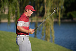 SUGAR GROVE, IL - MAY 31: Brad Dalke of the University of Oklahoma celebrates after sinking the winning putt during the Division I Men's Golf Team Championship held at Rich Harvest Farms on May 31, 2017 in Sugar Grove, Illinois. Oklahoma won the team national title. (Photo by Jamie Schwaberow/NCAA Photos via Getty Images)