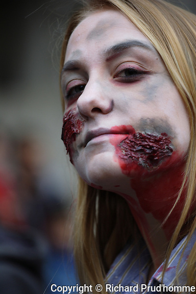 A young female zombie in downtown Montreal's zombie  walk