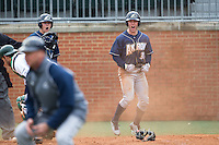 Dan Lawrence (38) of the Akron Zips celebrates after scoring the tying run from second base on a sacrifice fly in the top of the 9th inning against the Charlotte 49ers at Hayes Stadium on February 22, 2015 in Charlotte, North Carolina.  The Zips defeated the 49ers 5-4.  (Brian Westerholt/Four Seam Images)