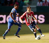Chivas USA forward Justin Braun (17) moves the ball up the field during the first half of the game between Chivas USA and the Kansas City Wizards at the Home Depot Center in Carson, CA, on September 19, 2010. Final score Chivas USA 0, Kansas City Wizards 2.