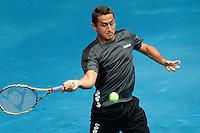 MADRI, ESPANHA, 07 DE MAIO DE 2012 - MUTUA MADRID OPEN - O tenista Santiago Giraldo  (branco) enfrenta Nicolas Almagro  (preto), durante o Mutua Madrid Open 2012, em Madrid na capital da Espanha, nesta segunda-feira, 06. (FOTO: CESAR CEBOLLA / ALFAQUI / BRAZIL PHOTO PRESS).