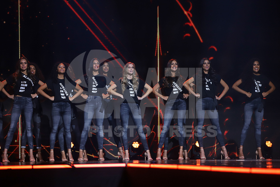 SÃO PAULO,SP, 09.03.2019 - MISS-BRASIL - Misses durante ato contra o machismo no concurso Miss Brasil Be Emotionno centro de exposições São Paulo Expo na região sul da cidade de São Paulo, neste sábado, 09. (Foto: William Volcov/Brazil Photo Press/Folhapress)