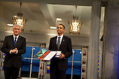 Oslo, Norway - December 10, 2009 -- Nobel Committee Chairman Thorbjorn Jagland presents United States President Barack Obama with the Nobel Prize medal and diploma during the Nobel Peace Prize ceremony in Raadhuset Main Hall at Oslo City Hall in Oslo, Norway, Thursday, December 10, 2009..Mandatory Credit: Samantha Appleton - White House via CNP