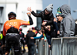 High five for fans from CCC Team rider at sign on before the start of Stage 3 of the 2019 Tour de Yorkshire, running 132km from Brindlington to Scarborough, Yorkshire, England. 4th May 2019.<br /> Picture: ASO/SWPix/Alex Broadway | Cyclefile<br /> <br /> All photos usage must carry mandatory copyright credit (&copy; Cyclefile | ASO/SWPix/Alex Broadway)