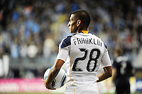 Sean Franklin (28) of the Los Angeles Galaxy. The Los Angeles Galaxy defeated the Philadelphia Union  1-0 during a Major League Soccer (MLS) match at PPL Park in Chester, PA, on October 07, 2010.