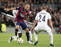 FC Barcelona's Javier Mascherano (c) and Paris Saint-Germain's Blaise Matuidi (l) and Marco Verratti during Champions League 2014/2015 match.December 10,2014. (ALTERPHOTOS/Acero) /NortePhoto