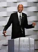 NBA legend Kareem Abdul-Jabaar makes remarks during the fourth session of the 2016 Democratic National Convention at the Wells Fargo Center in Philadelphia, Pennsylvania on Thursday, July 28, 2016.<br /> Credit: Ron Sachs / CNP<br /> (RESTRICTION: NO New York or New Jersey Newspapers or newspapers within a 75 mile radius of New York City)