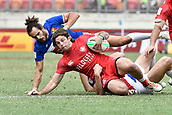 2nd February 2019, Spotless Stadium, Sydney, Australia; HSBC Sydney Rugby Sevens; Canada versus France; Pierre Boudehent of France tackles Pat Kay of Canada