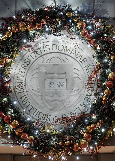 Dec. 21, 2014; Christmas Wreath on DPAC (Photo by Matt Cashore/University of Notre Dame)