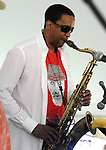 Javon Jackson, playing Saxophone, with the, Jazz By 5 Group, at the Annual Jazz in the Valley Festival,  in Waryas Park in Poughkeepsie, NY, on Sunday, August 21, 2016. Photo by Jim Peppler. Copyright Jim Peppler 2016 all rights reserved.