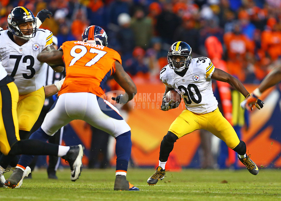 Jan 17, 2016; Denver, CO, USA; Pittsburgh Steelers running back Jordan Todman (30) against the Denver Broncos during the AFC Divisional round playoff game at Sports Authority Field at Mile High. Mandatory Credit: Mark J. Rebilas-USA TODAY Sports