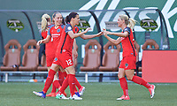 Portland, OR - Saturday May 27, 2017: Celeste Boureille, Christine Sinclair, Amandine Henry celebrate a goal during a regular season National Women's Soccer League (NWSL) match between the Portland Thorns FC and the Boston Breakers at Providence Park.