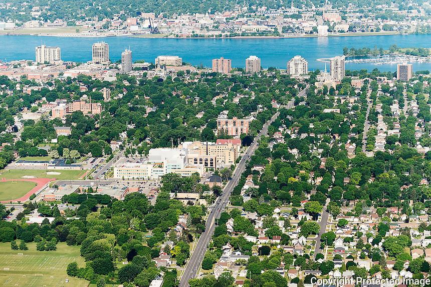 Bluewater Health Sarnia, Ontario waterfront skyline.