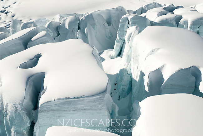 Massive seracs and crevasses on the Fox Glacier - Westland National Park