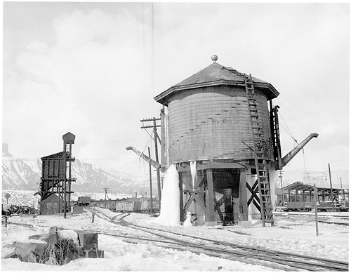 Durango water tank with two spouts and coaling tower in winter, looking north.<br /> D&amp;RGW  Durango, CO  Taken by Payne, Andy M. - 1/26/1960