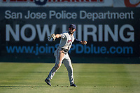 Lancaster JetHawks right fielder Willie Abreu (13) prepares to throw a ball to the infield during a California League game against the San Jose Giants at San Jose Municipal Stadium on May 12, 2018 in San Jose, California. Lancaster defeated San Jose 7-6. (Zachary Lucy/Four Seam Images)
