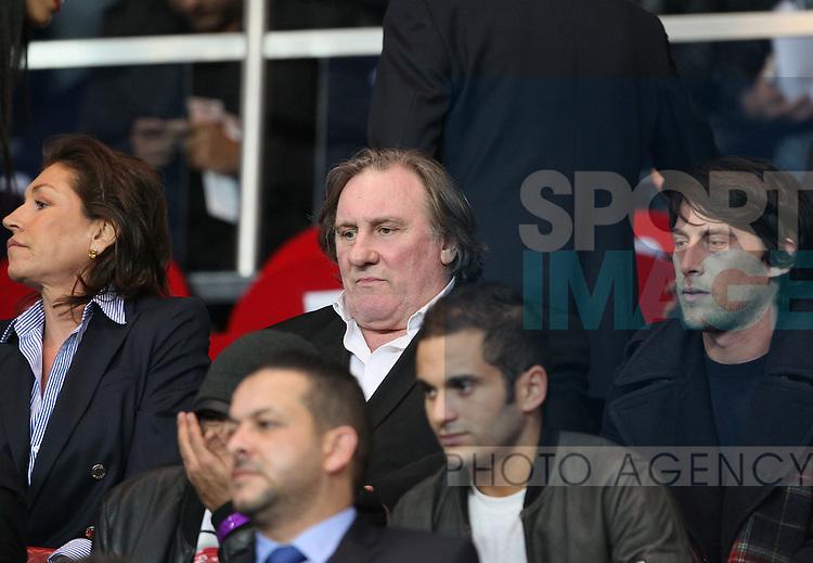 Gerard Depardieu watches form the stands<br /> <br /> Paris Saint Germain vs Chelsea - Champions League - Parc Des Princes- Paris - France - 02/03/2014  - Pic David Klein/Sportimage