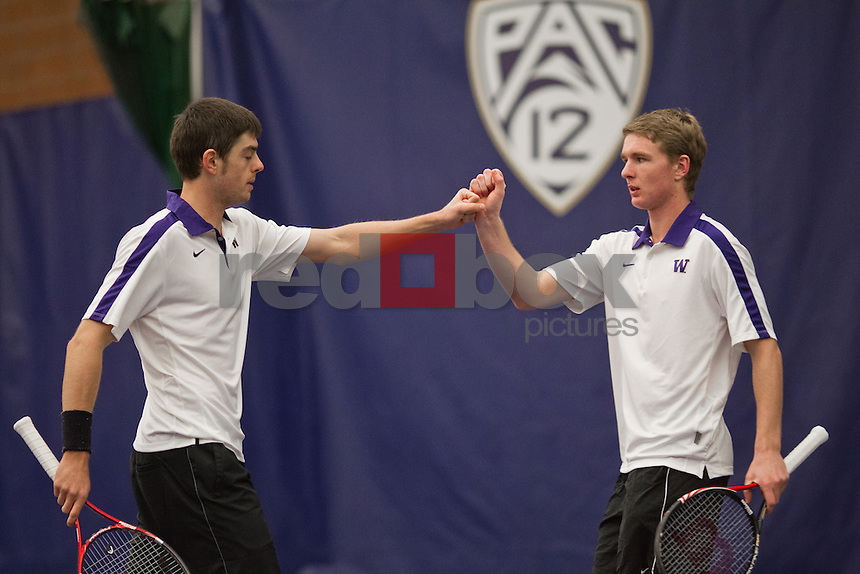 Kyle McMorrow, Emmett Egger...------Washington Huskies men's tennis team vs Pacific at the Nordstrom Tennis Center in Seattle on Sunday, January 22, 2012. UW won the match 7-0.(Photo by Dan DeLong/Red Box Pictures)