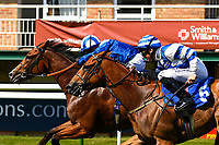 Winner of The British Stallion Studs EBF Cathedral Stakes (Listed)(Class 1), Eqtiraan (far side) ridden by Jim Crowley and trained by Richard Hannon  during Father's Day Racing at Salisbury Racecourse on 18th June 2017