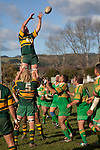 William Crisp is lifted high to claim uncontested lineout ball. Counties Manukau Premier Club rugby game between Drury & Pukekohe played at the Drury Domain on Saturday May 23rd 2009..Pukekohe won the game 23 - 11 after laeding 16 - 11 at halftime.