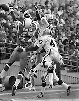 Oakland Raiders George Atkinson and David Grayson break up pass to San Diego Charger Queen,<br />
