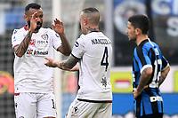 Radja Nainggolan of Cagliari (C) celebrates with Joao Pedro after scoring the goal of 1-1 <br /> Milano 26/01/2020 Stadio San Siro <br /> Football Serie A 2019/2020 <br /> FC Internazionale - Cagliari <br /> Photo Image Sport / Insidefoto