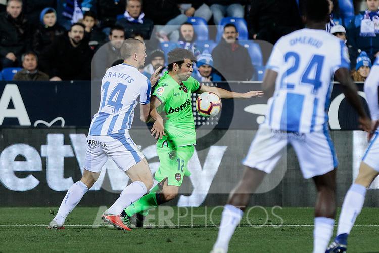 CD Leganes's Vasyl Kravets and Levante UD's Jorge Andujar 'Coke' during La Liga match between CD Leganes and Levante UD at Butarque Stadium in Leganes, Spain. March 04, 2019. (ALTERPHOTOS/A. Perez Meca)