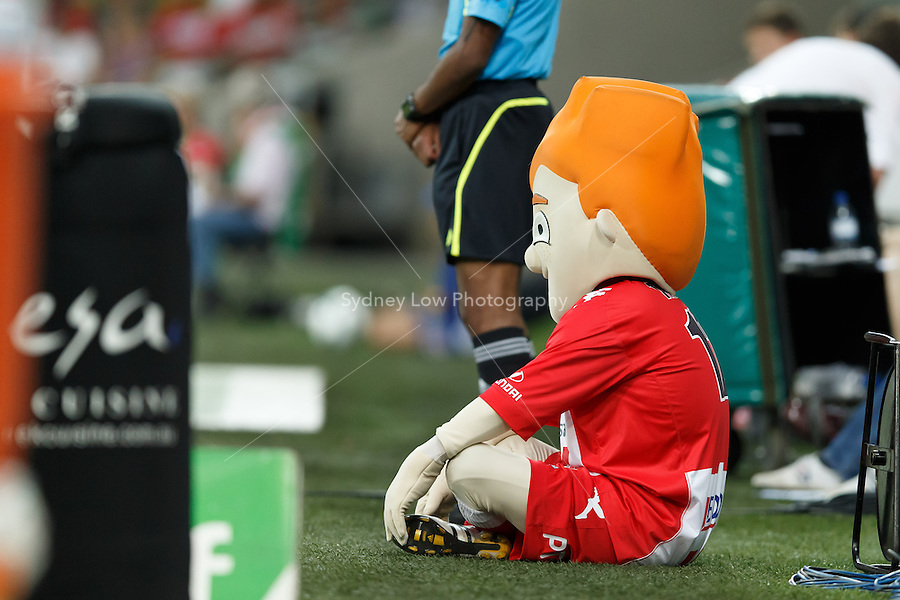 MELBOURNE - 11 MAR: The Heart mascot watches the action in the round 24 A-League match between Melbourne Heart and Adelaide United at AAMI Park on 11 March 2013. (Photo Sydney Low/syd-low.com/Melbourne Heart)