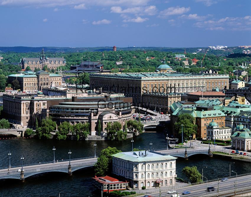 Sweden, Stockholm: view at Reichstag, Royal Palace, Nordiska-Museum and Vasa-Museum   Schweden, Stockholm: Blick auf Reichstag, Royal Palace, Nordiska-Museum und Vasa-Museum