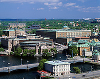 Sweden, Stockholm: view at Reichstag, Royal Palace, Nordiska-Museum and Vasa-Museum | Schweden, Stockholm: Blick auf Reichstag, Royal Palace, Nordiska-Museum und Vasa-Museum