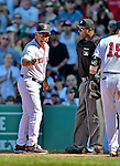 10 June 2012: Boston Red Sox Manager Bobby Valentine expresses his dissatisfaction with a call, getting ejected from the game in the 9th inning against the Washington Nationals at Fenway Park in Boston, MA. The Nationals defeated the Red Sox 4-3 to sweep their 3-game interleague series. Mandatory Credit: Ed Wolfstein Photo