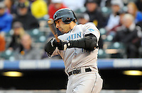 12 JUNE 2010: Toronto Blue Jays outfielder Jose Bautista during an interleague regular season Major League Baseball game between the Colorado Rockies and the Toronto Blue Jays at Coors Field in Denver, Colorado.  *****For Editorial Use Only*****