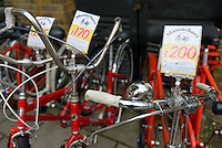 "Bicycle on sale. Mamachari Bikes, Dalston, London, UK, March 29, 2014. Mamachari sells Japanese ""mamachari"" shopping bikes in the East End of London."
