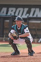 Coastal Carolina Chanticleers catcher Josh Powell #40 in the field during a game against the University of Pittsburgh Panthers at Watson Stadium at Vrooman Field on March 2, 2012 in Conway, SC.  Pittsburgh defeated Coastal Carolina 3-1. (Robert Gurganus/Four Seam Images)